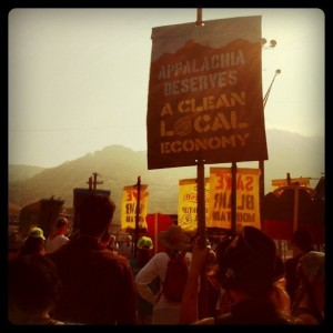 Marchers gaze at the prize: Blair Mountain is slated to be destroyed for low-quality coal.